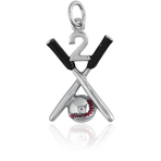 "It's Charming Sterling Silver ""2"" with Black Baseball Bats and Red Baseball Charm"