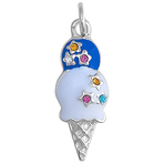 It's Charming Sterling Silver Blue and White Ice Cream Cone with CZ