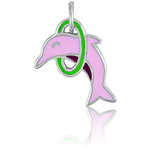 It's Charming Sterling Silver Pink Dolphin and Green Hoop Charm