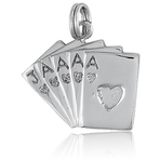 It's Charming Sterling Silver 5 Playing Cards Charm