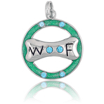 "It's Charming Sterling Silver Green Circle with CZ ""Woof"" Dog Bone Charm"