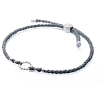 Chrysalis Grey Adjustable Plaited Cord Bracelet
