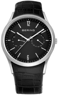 Bering Watches Black Crocadile Leather Multifunction 11839-402