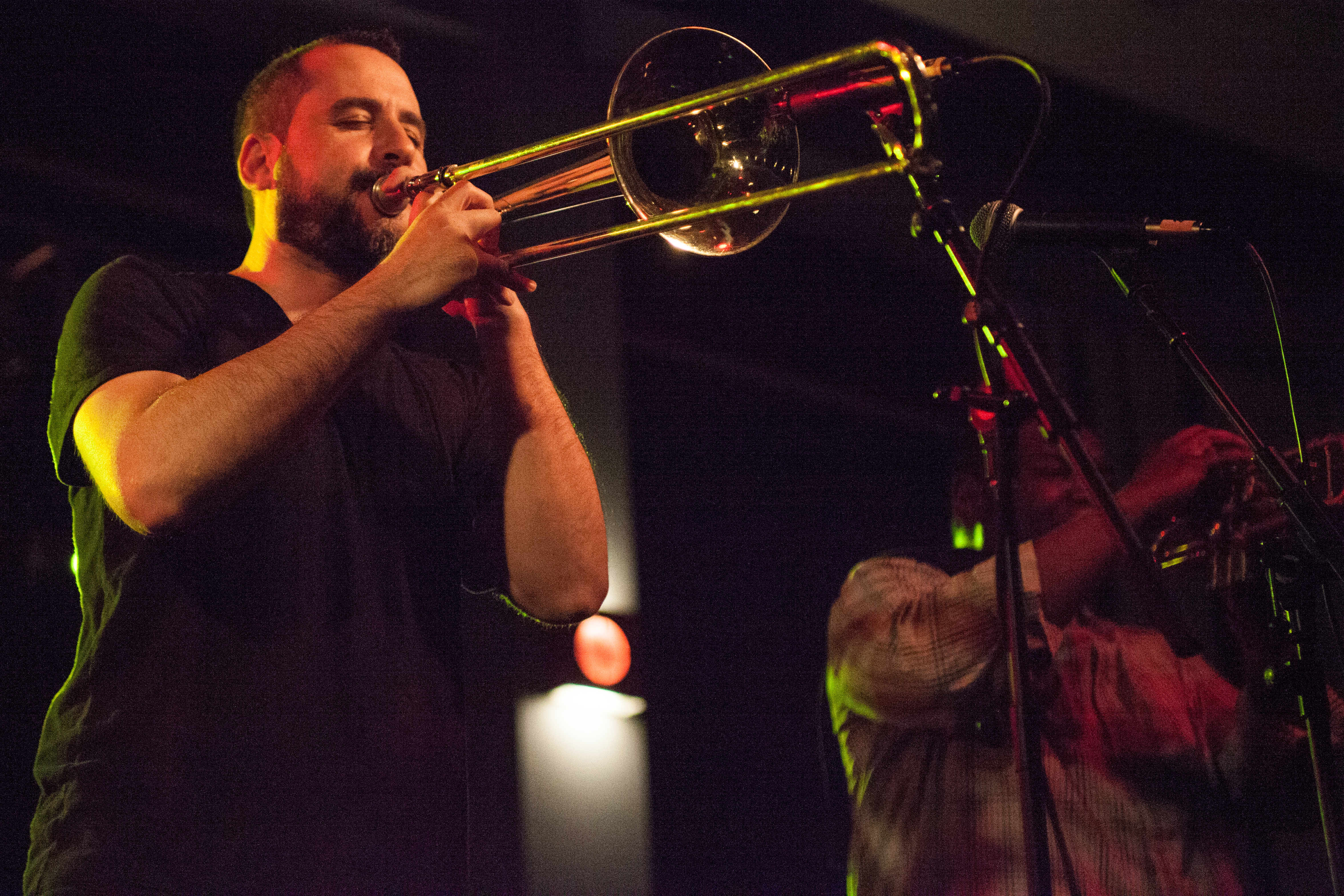 Nadav Nirenberg, above, is the bands third and current trombone player. He joined the band in 2010 and also sings backup vocals. KRYSTEN MASSA / THE STATESMAN