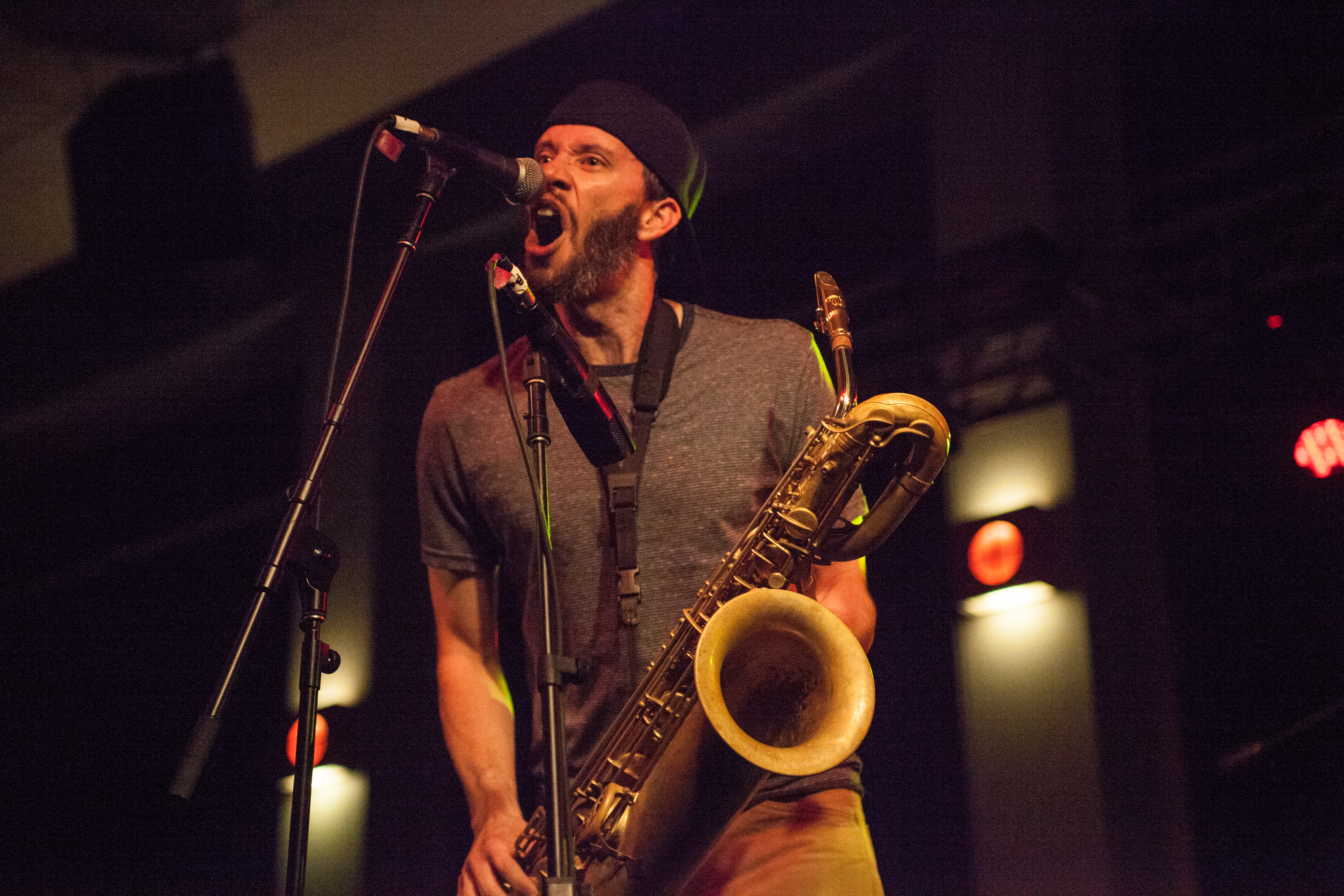 Mike Brown, above, plays the alto and baritone saxophone as well as contributing vocals. KRYSTEN MASSA / THE STATESMAN