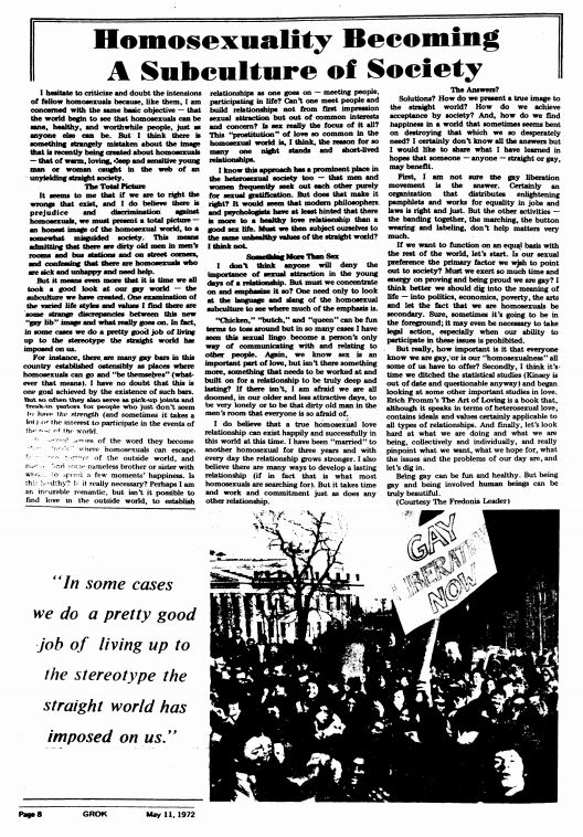 May 11, 1972, Homosexuality Becoming A Subculture of Society