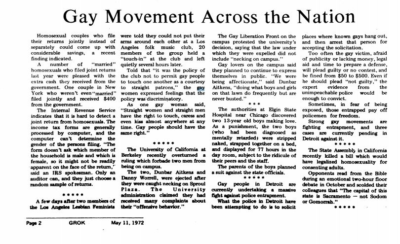 May 11, 1972: Gay Movement Across the Nation