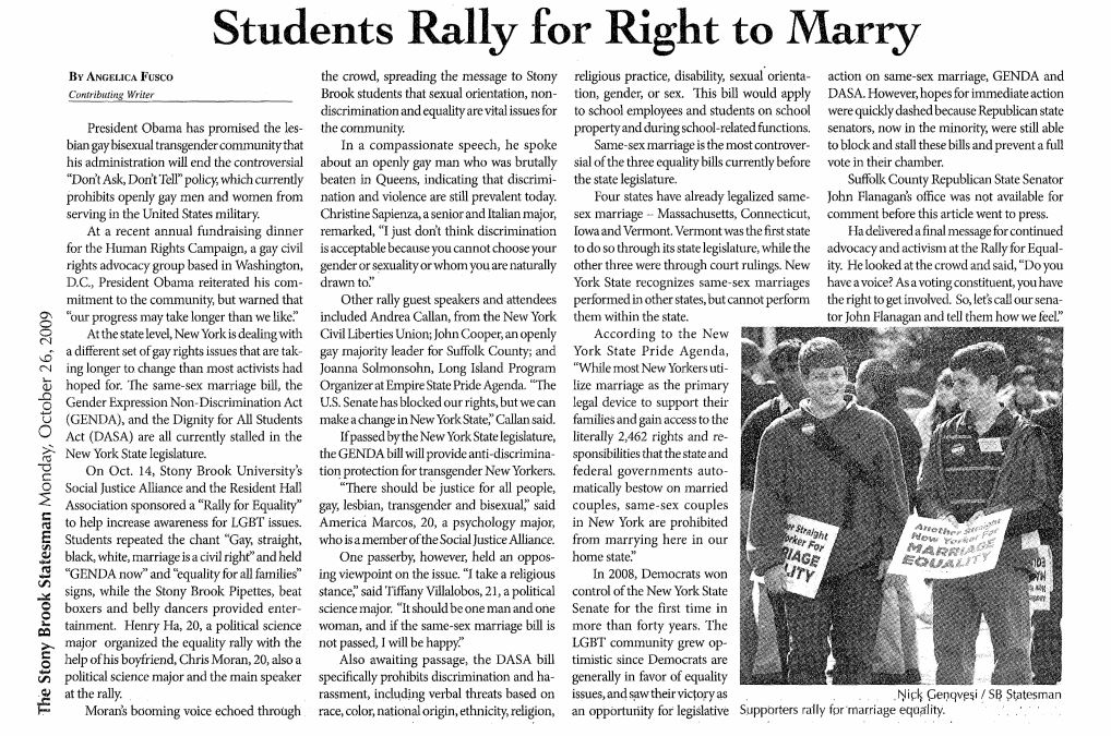 Oct. 26, 2009: Students Rally for Right to Marry