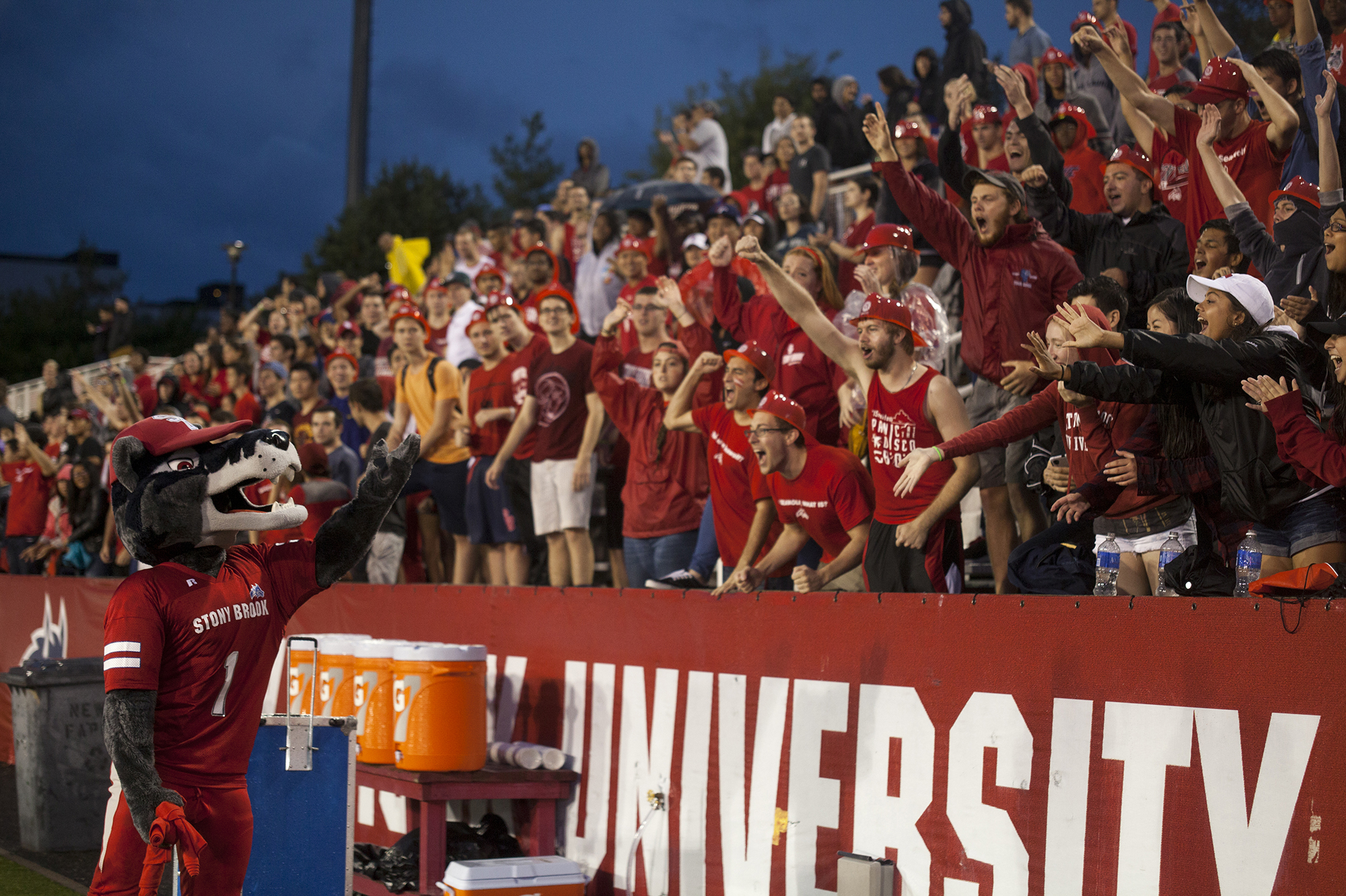 Wolfie trades cheers for shirts at Stony Brook's first football game of the 2015 season versus the Central Connecticut Blue Devils on Sept. 12, 2015 at Kenneth P. LaValle stadium. CHRISTOPHER CAMERON/THE STATESMAN
