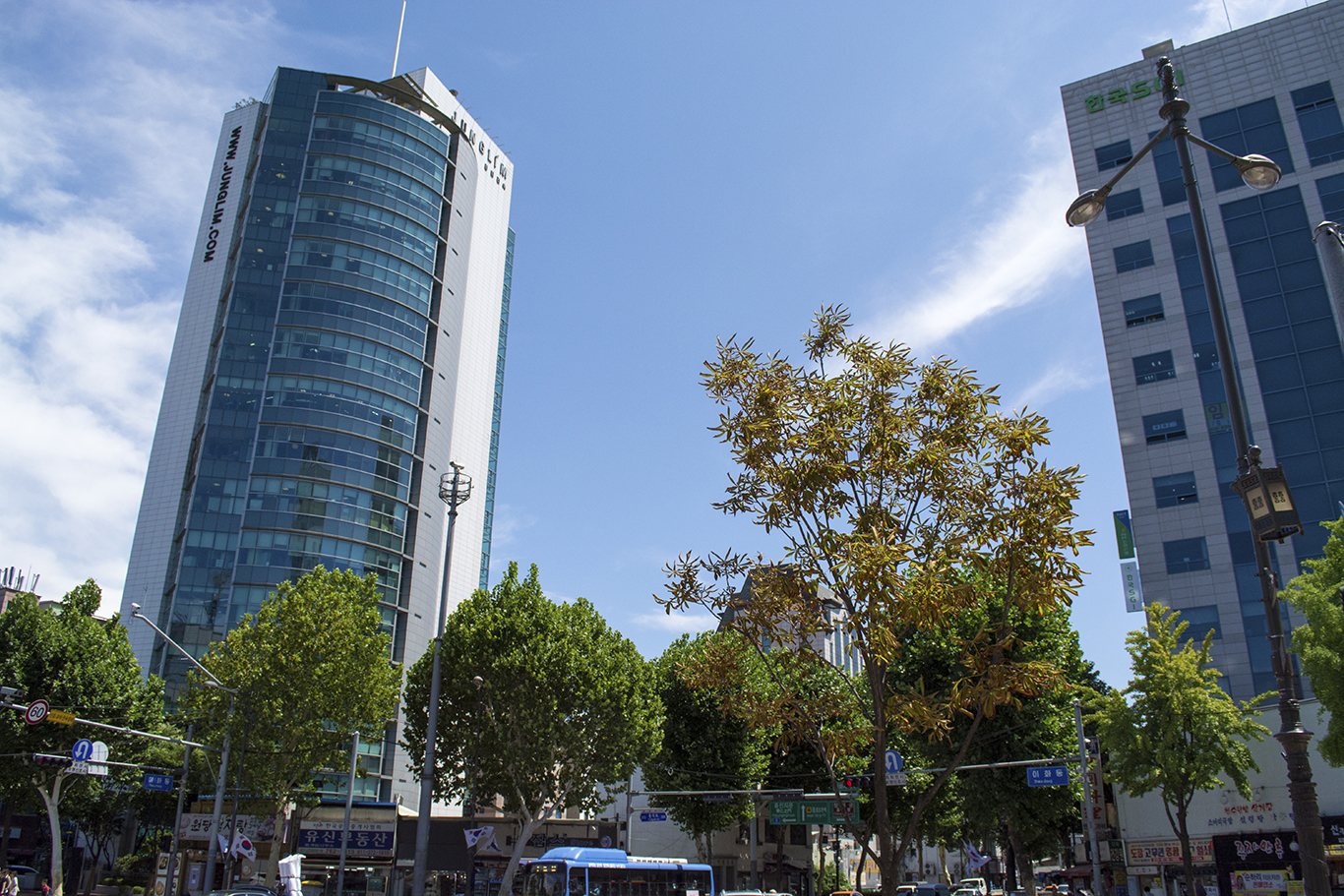 The JUNGLIM Architecture tower (left) in Daehangno, Seoul.(CHRISTOPHER CAMERON/THE STATESMAN)