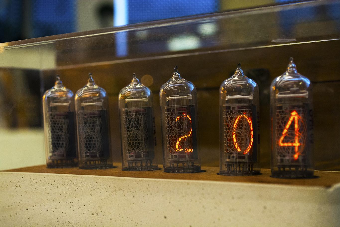 A Nixie tube clock on display at the Dongdaemun Design Plaza in Seoul, South Korea.  (CHRISTOPHER CAMERON/THE STATESMAN)