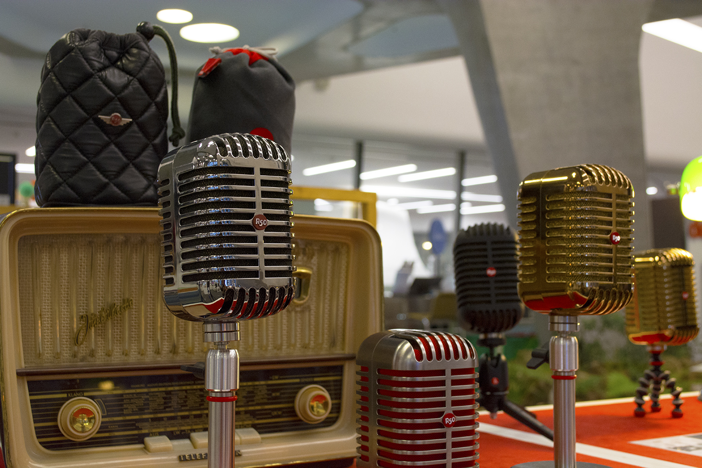 A set of vintage microphones on display at the Dongdaemun Design Plaza in Seoul, South Korea. The display is a part of an exhibit on retro fashion.(CHRISTOPHER CAMERON/THE STATESMAN)