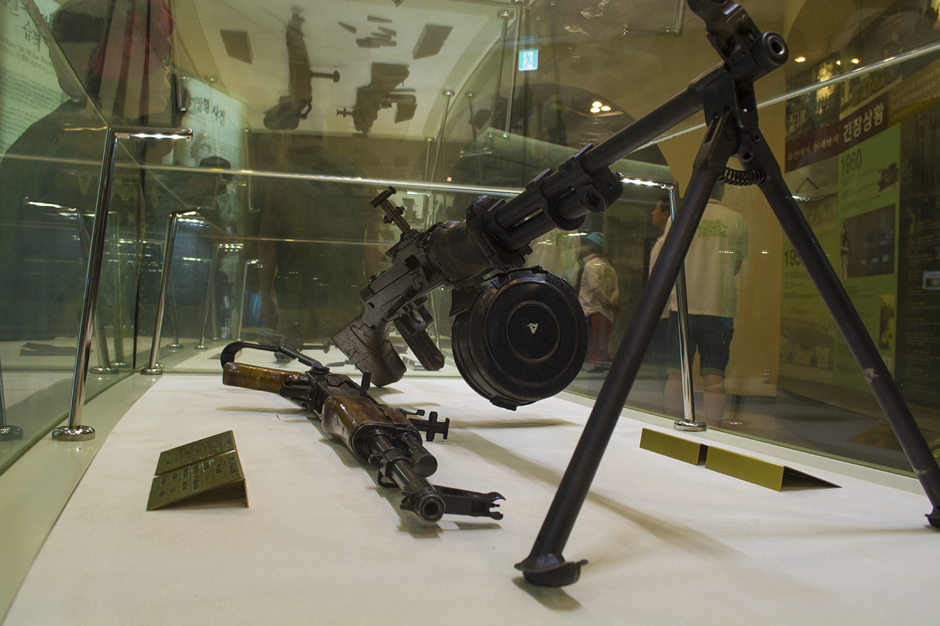 A Type 58 assault rifle (left) and a Type 56 light machine gun (right) on display at the South Korean entrance to the Third Tunnel of Aggression in the DMZ. The weapons are a part of an exhibit of military equipment that had been recovered from the North Koreans over the past 50 years.(CHRISTOPHER CAMERON/THE STATESMAN)