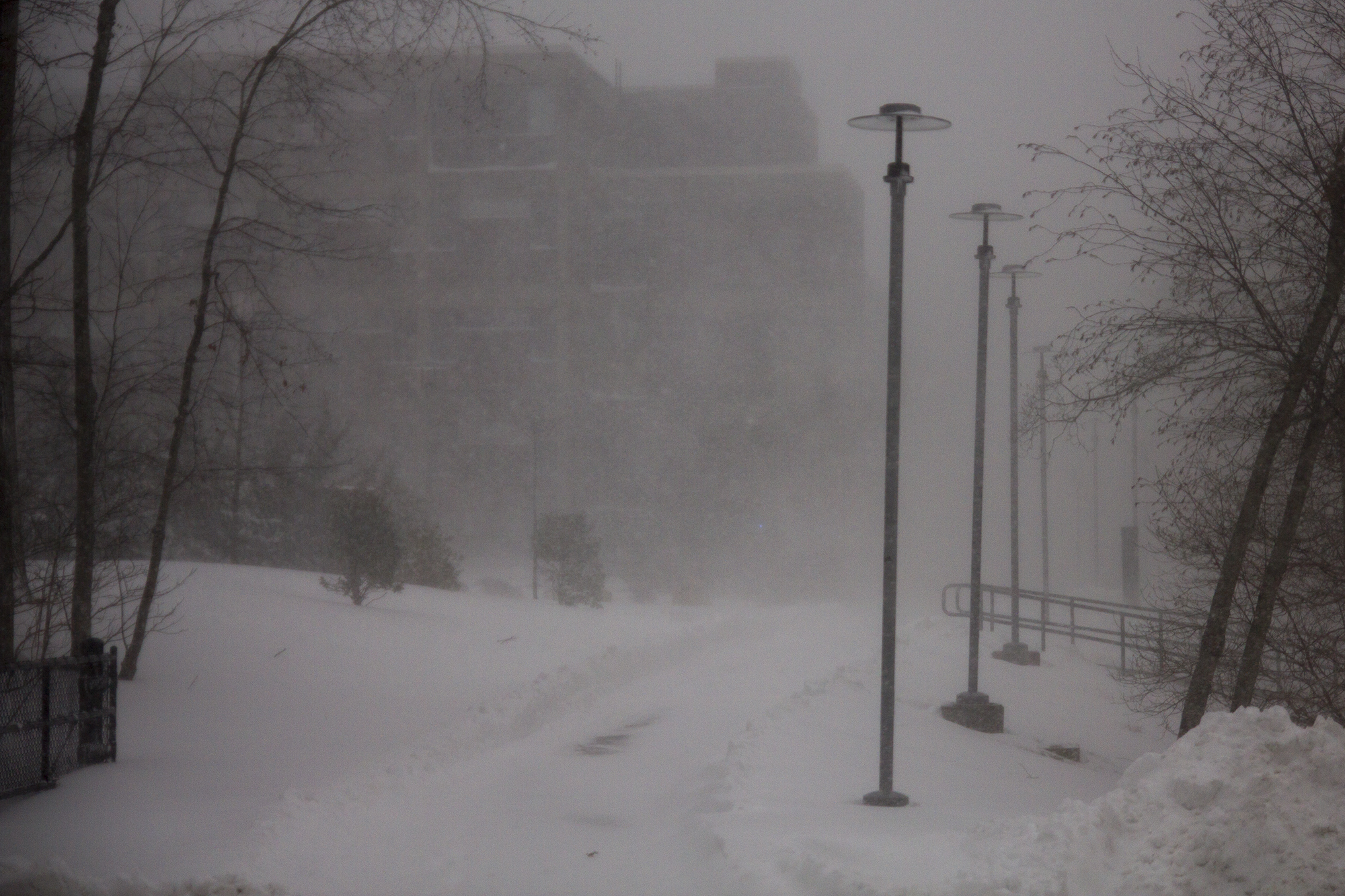 Stimson College is barely visible due to the blizzard conditions. ERIC SCHMID/THE STATESMAN