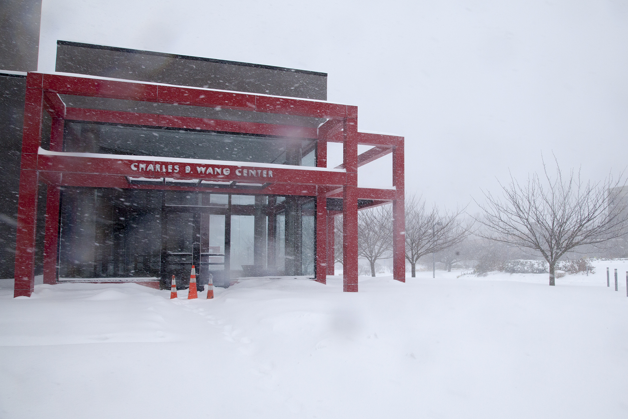 The Wang Center at Stony Brook University during Winter Storm Jonas on Saturday, Jan. 23. The Wang Center was closed for Saturday. CHRISTOPHER CAMERON/THE STATESMAN