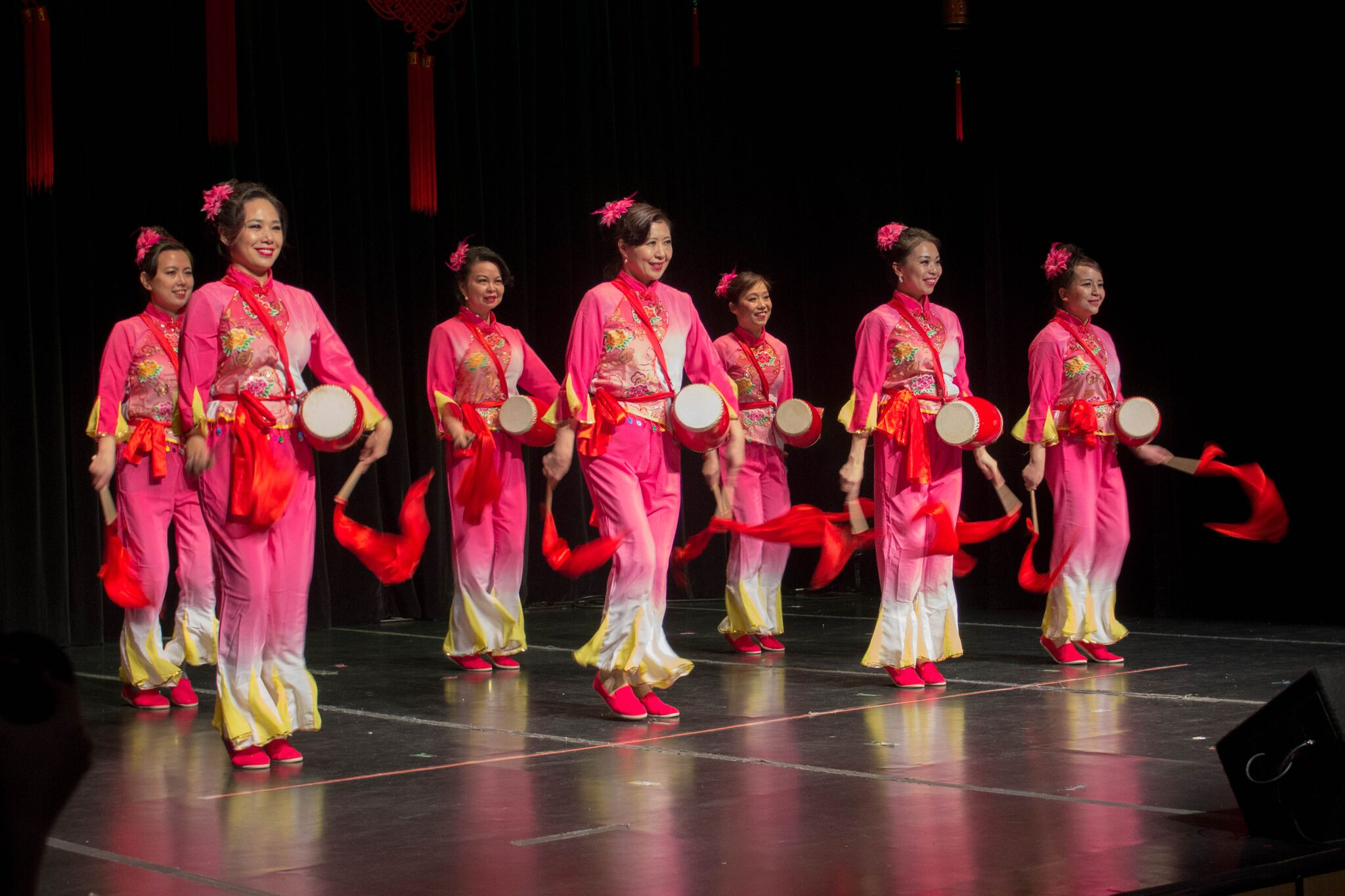 "The Song Island Performing Arts Group performed a drumming and dancing skit titled ""Drumming to Spring."" Established in 2015, members are from Long Island and perform to share, honor and preserve the traditions of Chinese music, dance, and drumming.  MANJU SHIVACHARAN/ THE STATESMAN"