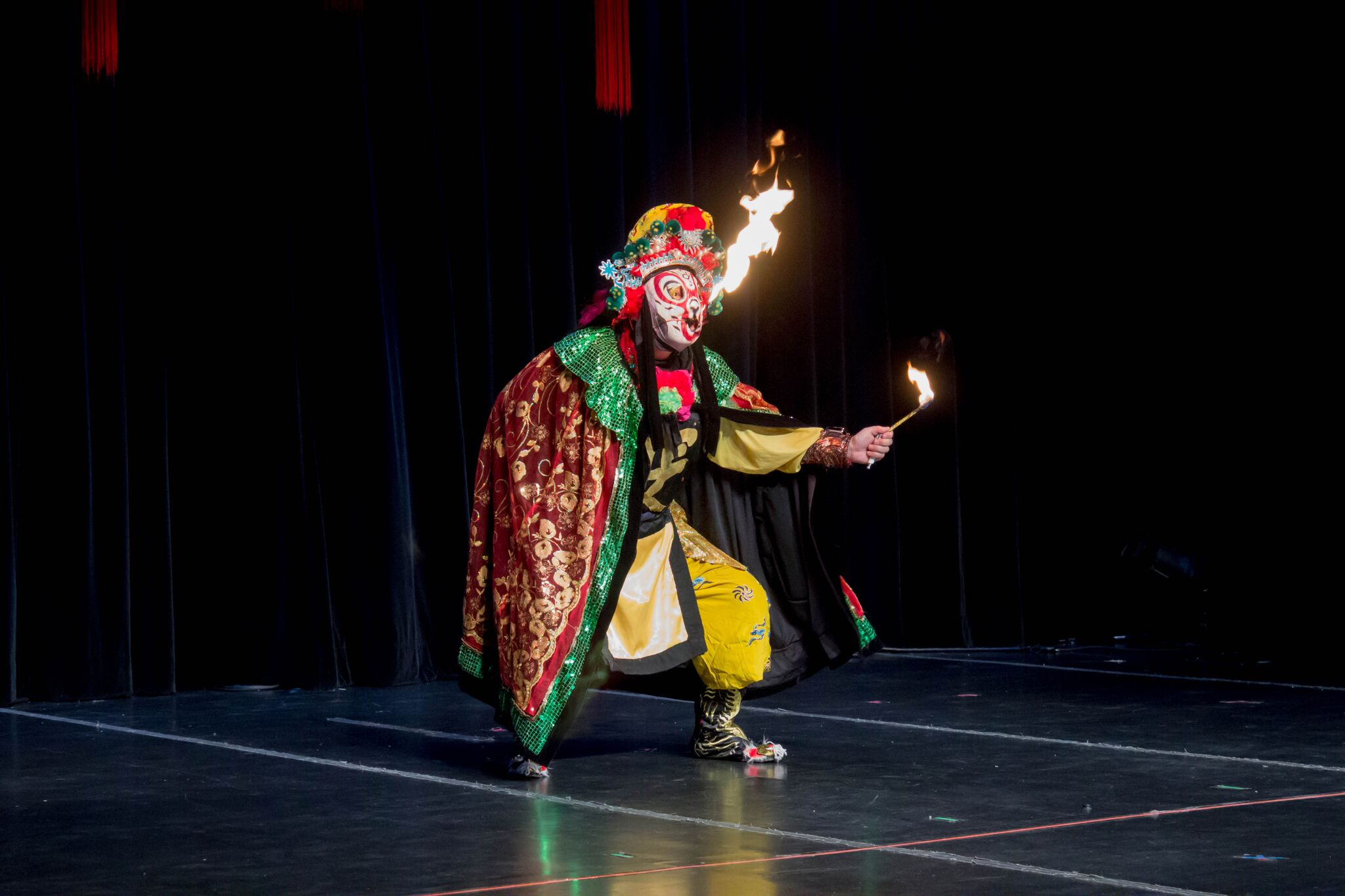 A magician performed a face changing performance. The performers wear masks of different colors usually depicting well known characters from the Sichuan Opera. One of the faces the magician depicted included a fire-breathing skit. The technique used to change masks has been a guarded secret which has been passed down traditionally from generation to generation within theater families. MANJU SHIVACHARAN/ THE STATESMAN