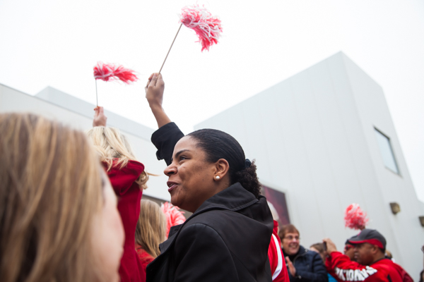 Councilwoman Valerie Cartwright joins the rally to send the team off to the NCAA Tournament. KRYSTEN MASSA/THE STATESMAN.