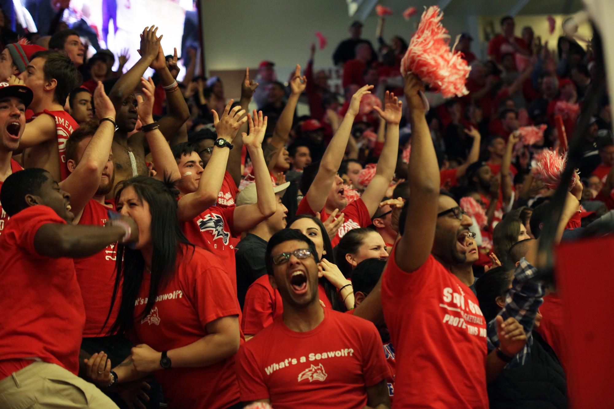 Stony Brook fans roar as Jameel Warney scores a layup shot against Vermont, earning the  Seawolves a three point lead. CHRISTOPHER CAMERON/THE STATESMAN