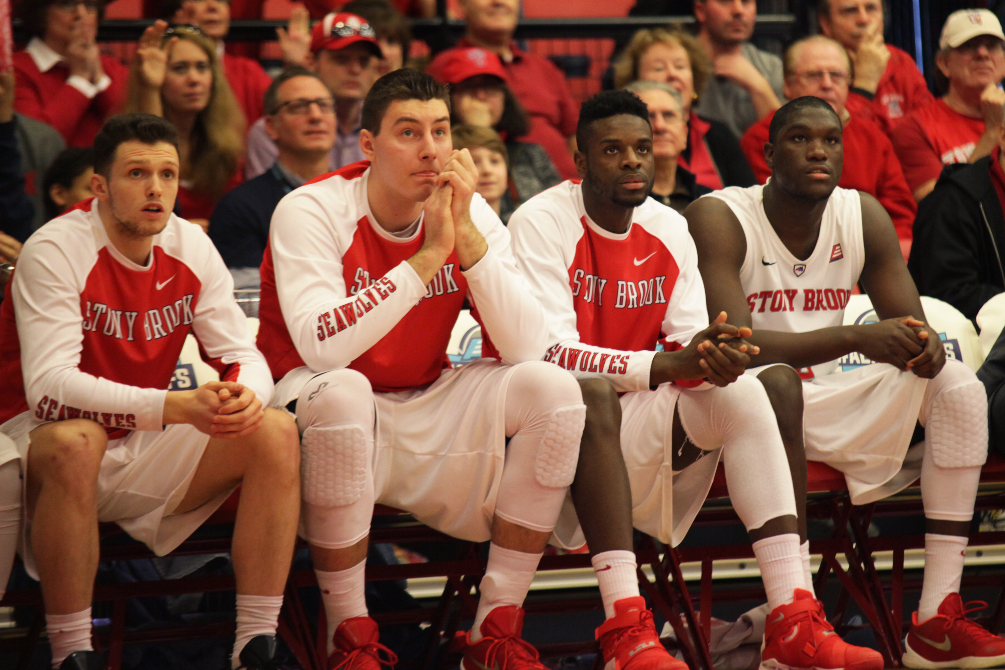 Members of the Stony Brook Men's Basketball team watch on as their teammates battle back a 15-point deficit during their championship game. CHRISTOPHER CAMERON/THE STATESMAN
