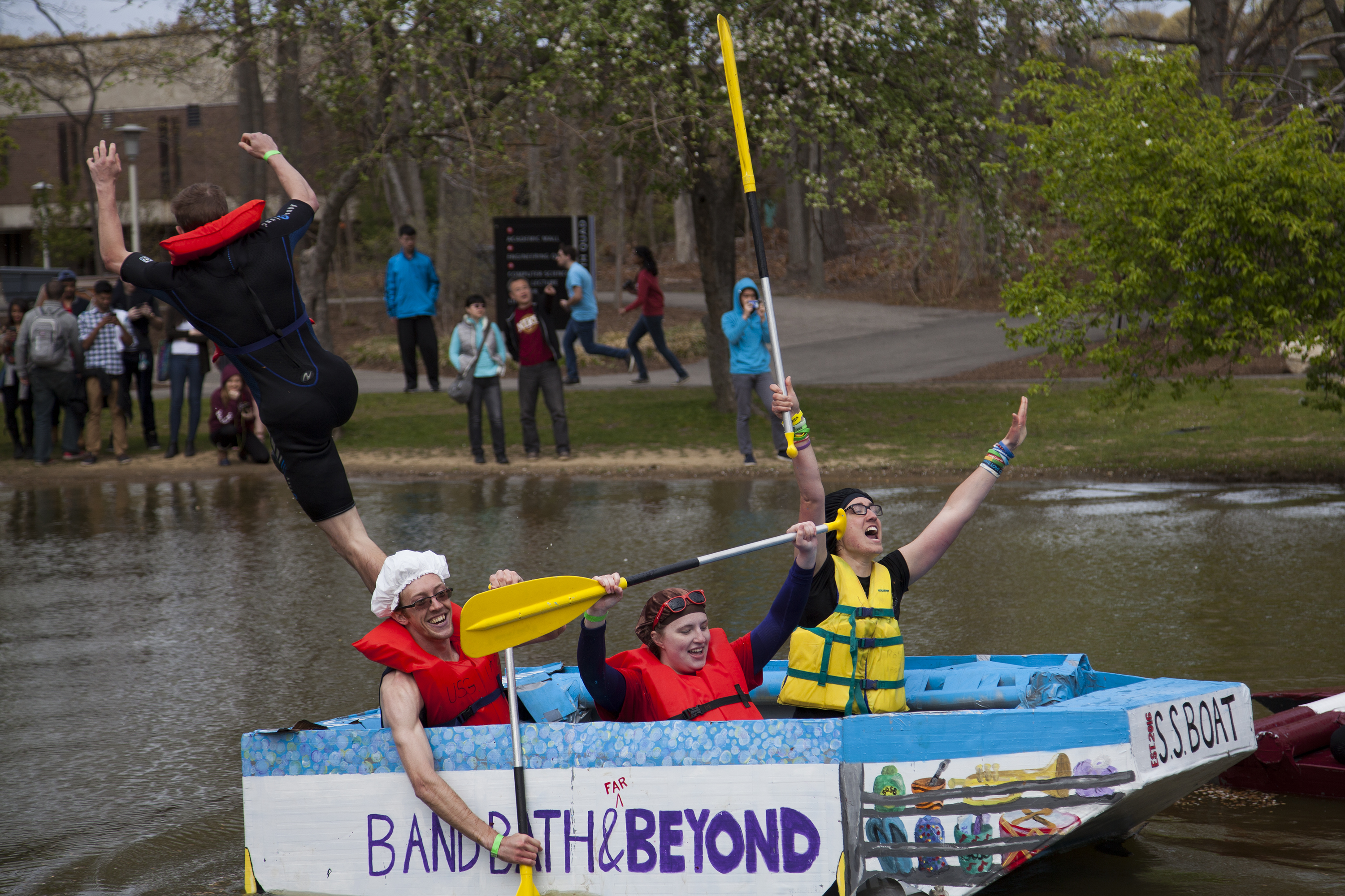 Stony Brook University students celebrate winning a heat at Roth Regatta on April 29, 2016. <em>ERIC SCHMID/STATESMAN FILE</em>