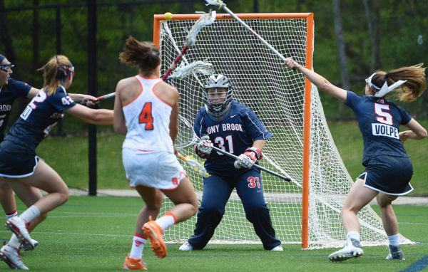 Stony Brook plays Syracuse University in the second round of the NCAA Division I women's lacrosse tournament on Sunday, May 15, 2016.