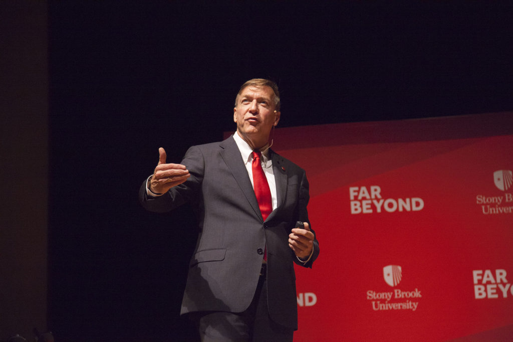 President Samuel L. Stanley at the 2016 State of the University address. Wednesday he hosted a town hall meeting about diversity. JERROD WHITE/THE STATESMAN</eM