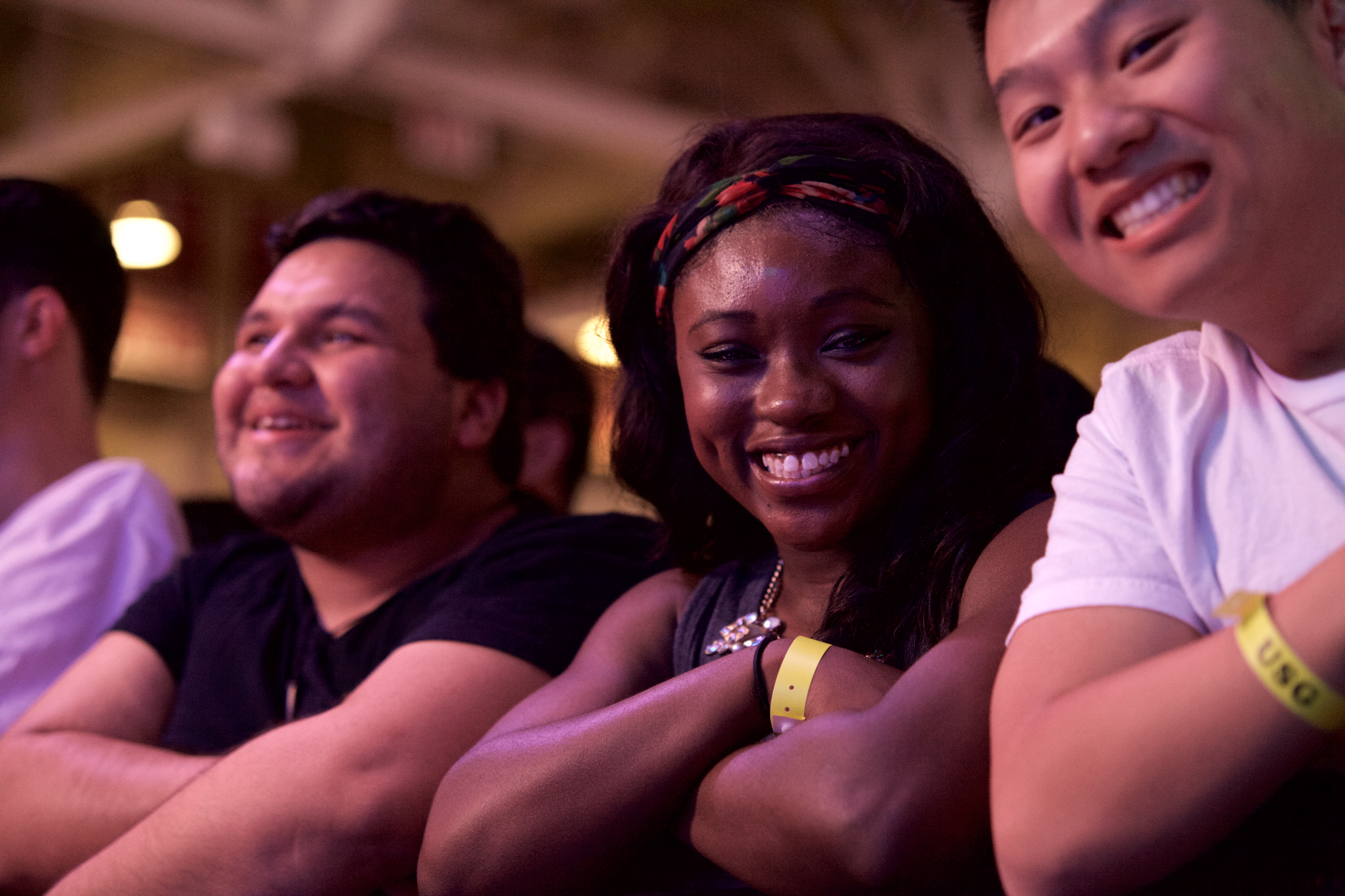Elizabeth Osei enjoys the opening act, The Commas. Students lined up for hours just to see the concert. ARACELY JIMENEZ/THE STATESMAN