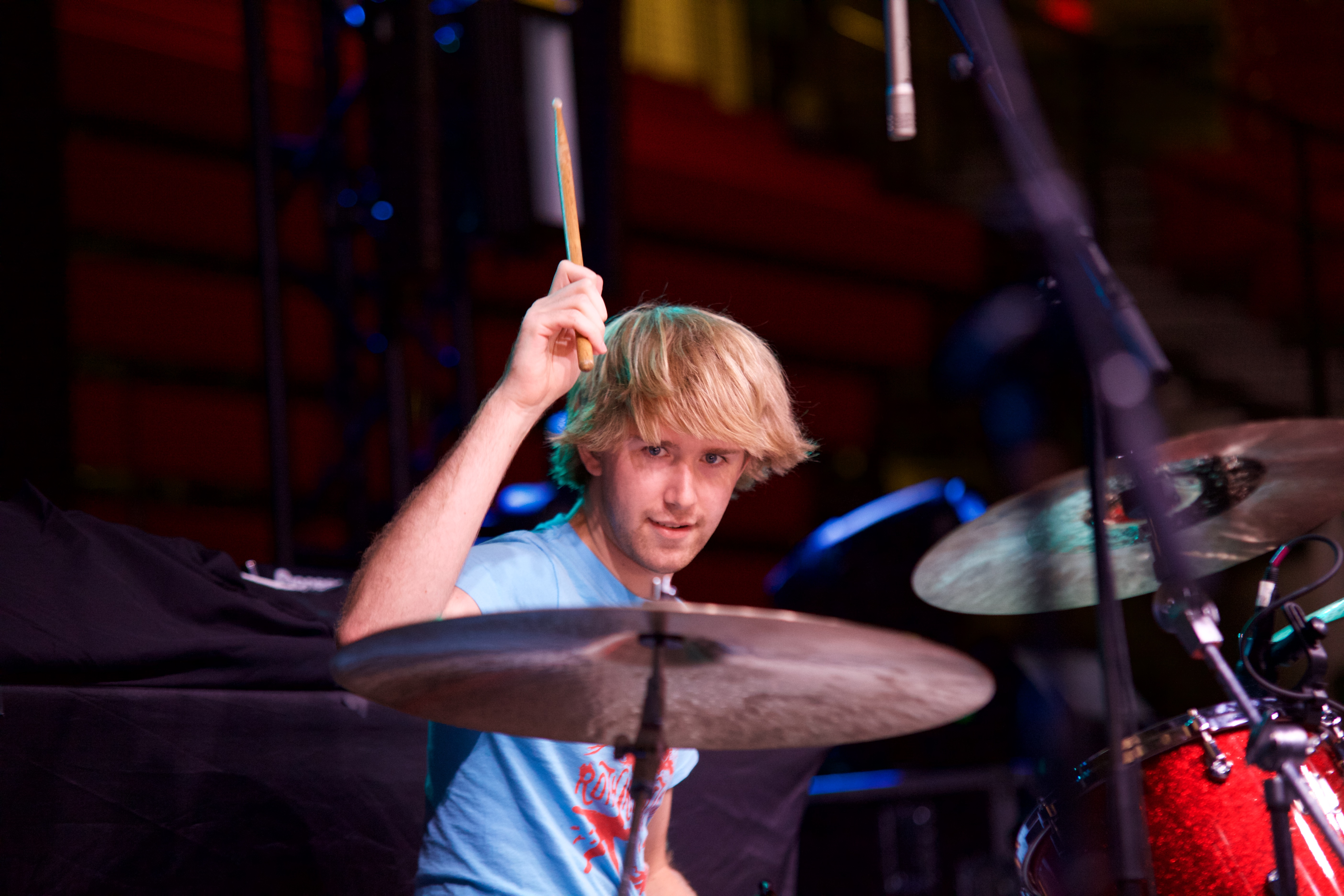 Dylan Schreiber hits the ride cymbal. He and his group have performed at Roth Regatta, the Toscanini Ball and Tabler Twist, but this is their highest profile performance. ARACELY JIMENEZ/THE STATESMAN