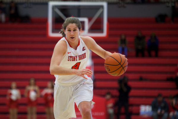 Senior guard Crysta Scogamililo dribbles down the court against Columbia on Nov. 22. She scored a career high 20 points against ___ securing a seawolves win. ARACELY JIMENEZ/THE STATESMAN