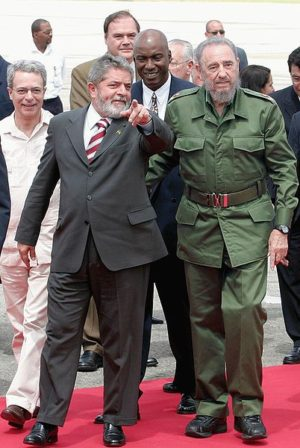 Former President of Brazil Luiz Inacio Lula da Silva and late President of Cuba Fidel Castro meet at Cuba's International Airport. AGENICIA BRASIL/WIKIMEDIA COMMONS VIA CC BY 3.0