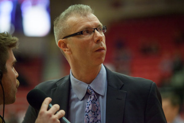 Stony Brook Men's Basketball Head Coach Jeff Boals during a halftime interview. ARACELY JIMENEZ/THE STATESMAN