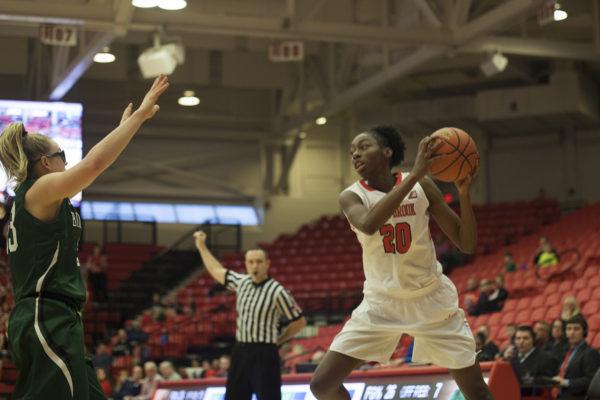 Sophomore center Ayshia Baker in a game against Binghamton on Jan. 22. Baker had 8 points and 6 rebounds against Hartford. ARACELY JIMENEZ/THE STATESMAN