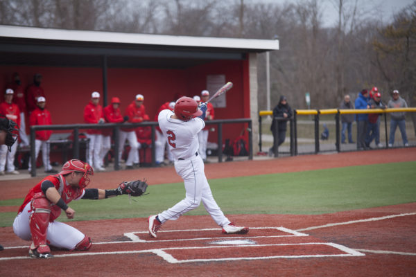 Senior shortstop Jeremy Giles at bat in the second game of Stony Brook's series against Hartford. Giles had one homerun and three RBIs giving the Seawolves a four run lead over the Hawks. MARIE MATSUNAGA/THE STATESMAN