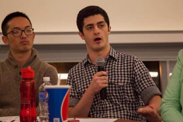 Maxamillian Shaps, the Vice President of Communications and Public Relations for Stony Brook University's Undergraduate Student Government, at a debate in spring 2016. ERIC SCHMID/STATESMAN FILE