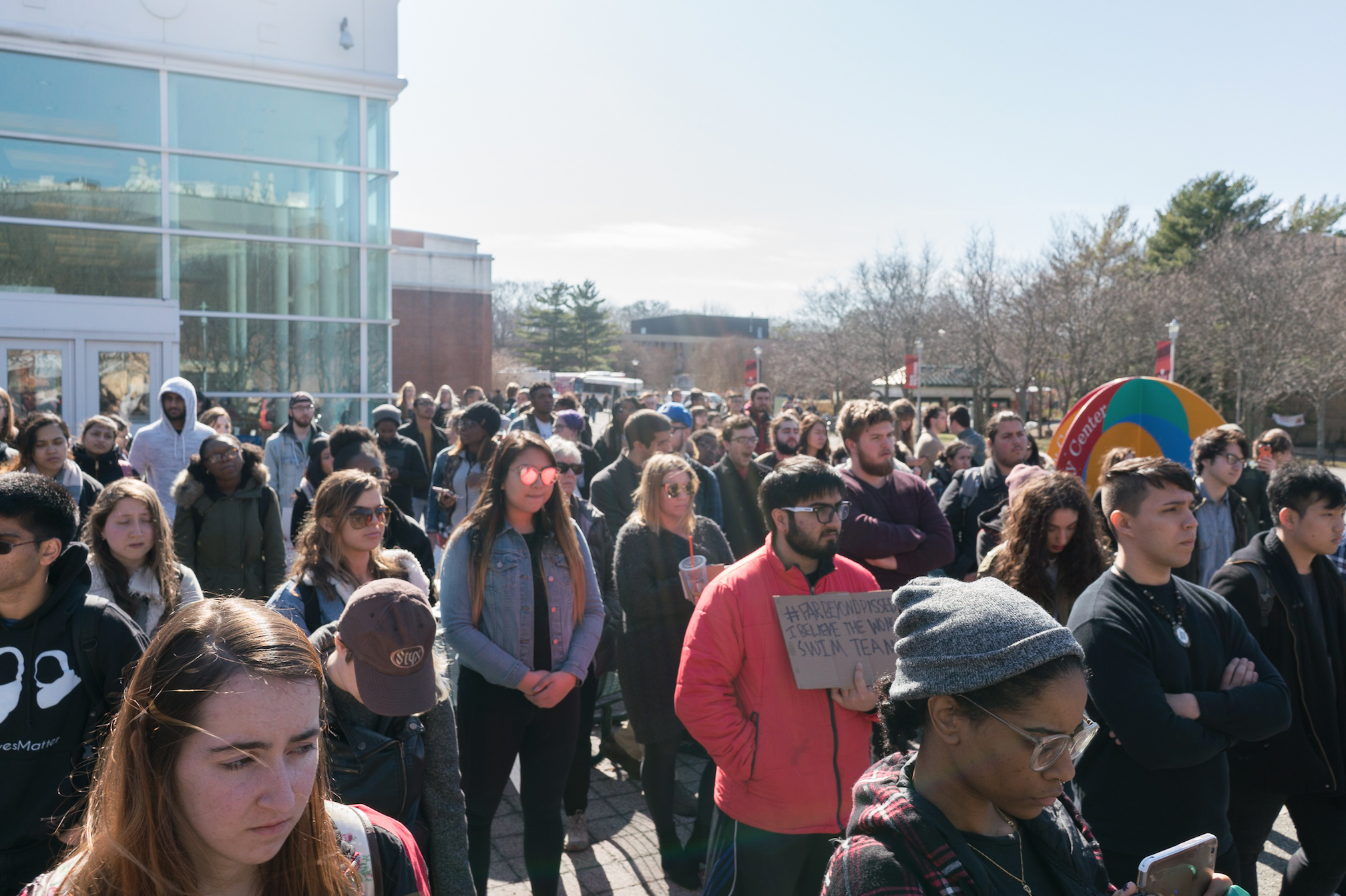 Students spoke in front of a crowd outside the Student Activities Center.  <em>GARY GHAYRAT/THE STATESMAN</em>