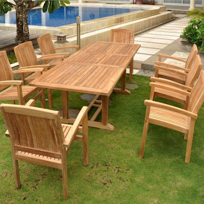 Anderson Teak Bahama 8-person Teak Patio Dining Set With Extension Table