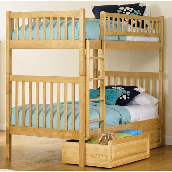 Atlantic Furniture 2000501 Arizona Twin / Twin Bunk Beds Natural Maple W/ Raised Panel Drawers