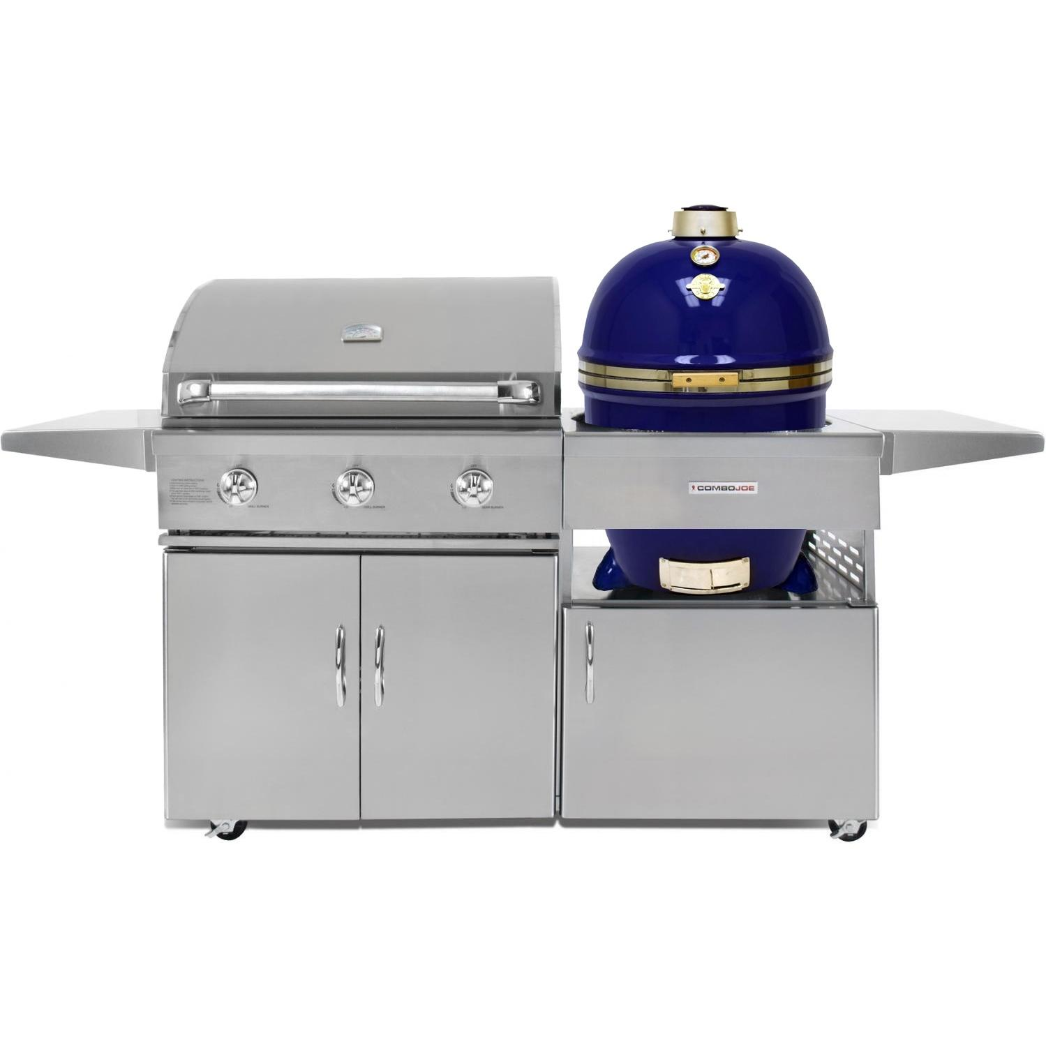 Grill Dome Infinity Series Blue Kamado And 32-Inch Natural Gas Grill On Cart, Discount ID GJ32S-NG CGJ32C GDL-BL