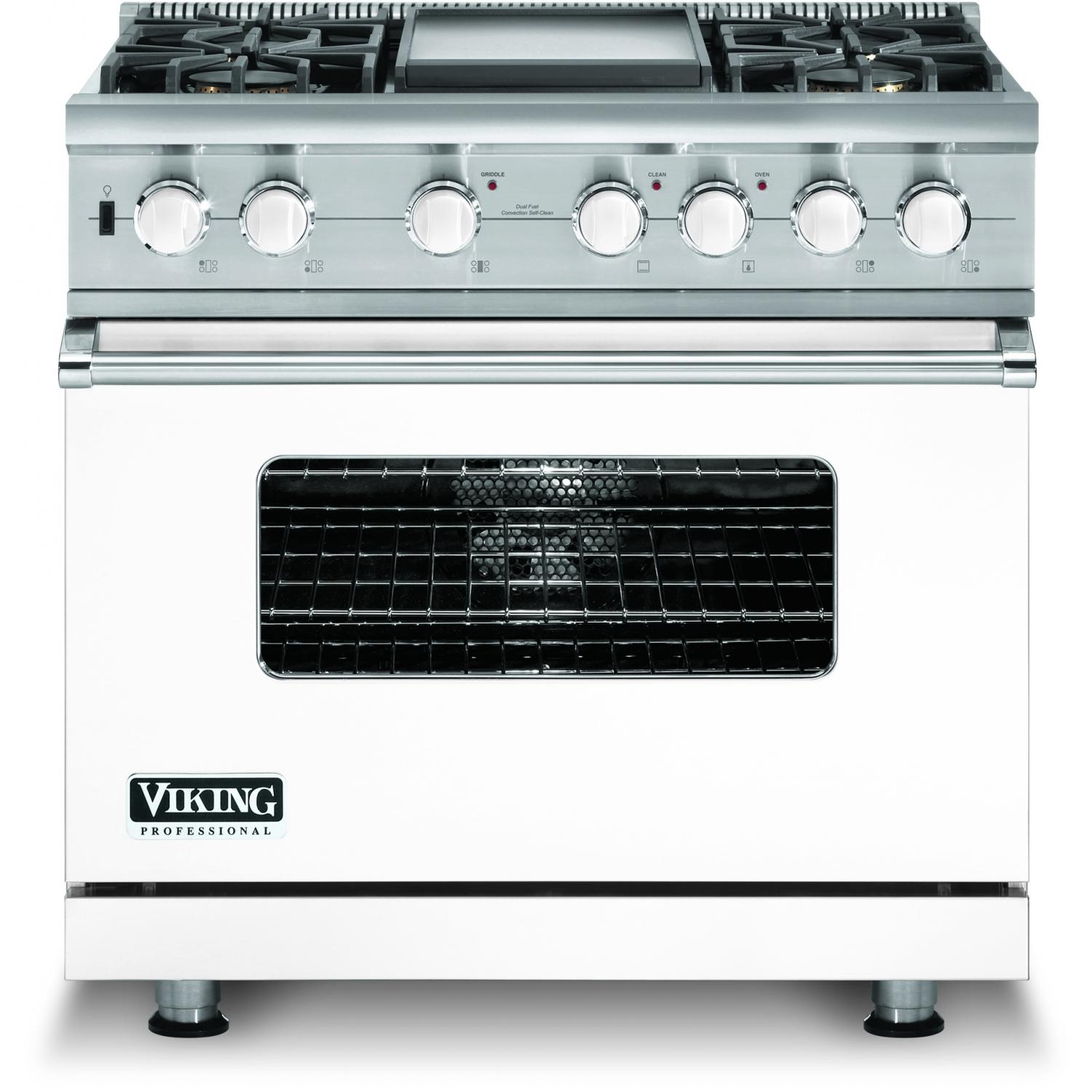 Viking VDSC536-4GLP 36-Inch Professional Series Dual Fuel Propane Gas Range With 4 Burners And Griddle - White