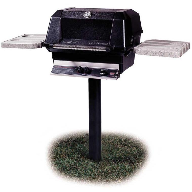 MHP Gas Grills WNK4 Propane Gas Grill W/ SearMagic Grids On In-Ground Post