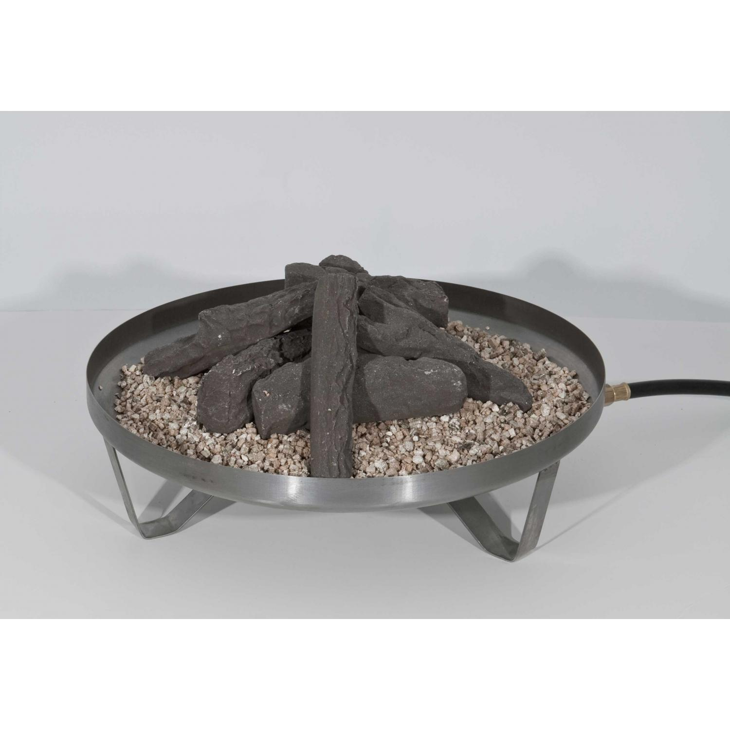 Fire Sense New Frontier Campfire Propane Fire Pit With Stainless Top And Ceramic Log Set