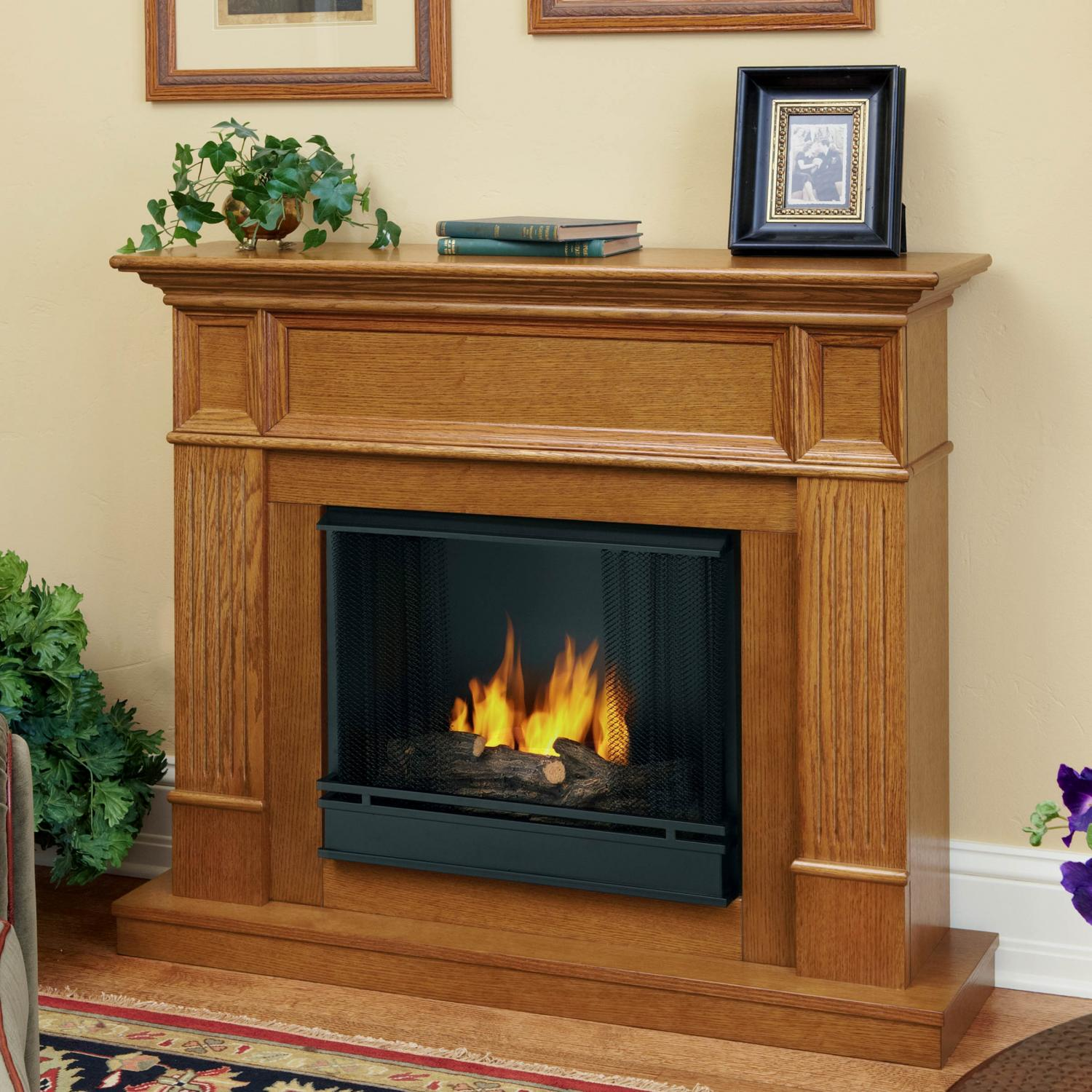 Real Flame Camden 45-Inch Gel Fireplace - Light Oak