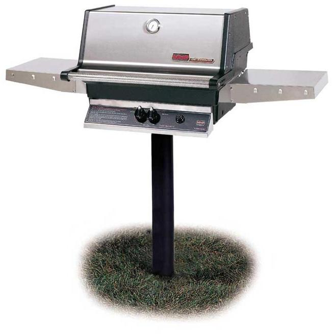 MHP Gas Grills TJK2 Propane Gas Grill W/ Stainless Grids On In-Ground Post