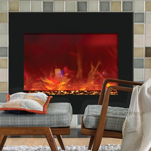 Amantii Zero Clearance 39-inch Built-in Electric Fireplace - Black Glass - Zecl-39