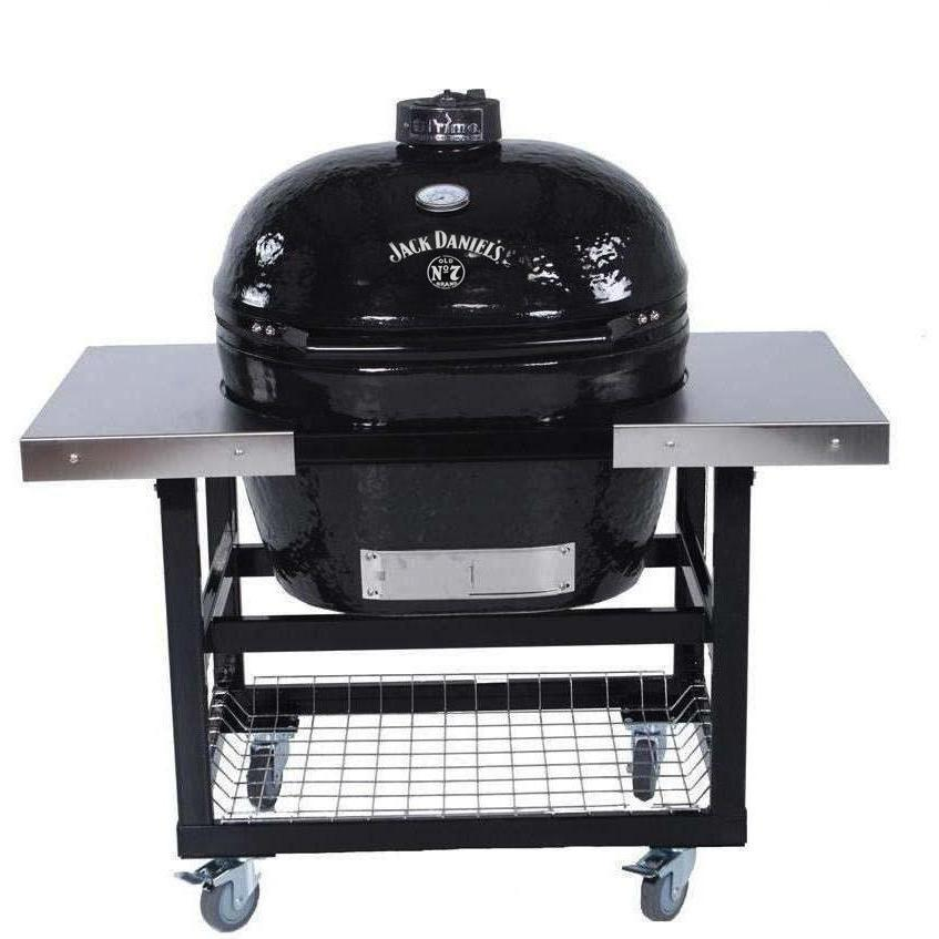 Primo Jack Daniels Edition Oval XL Ceramic Kamado Grill On Steel Cart With Stainless Side Tables - 900 + 370