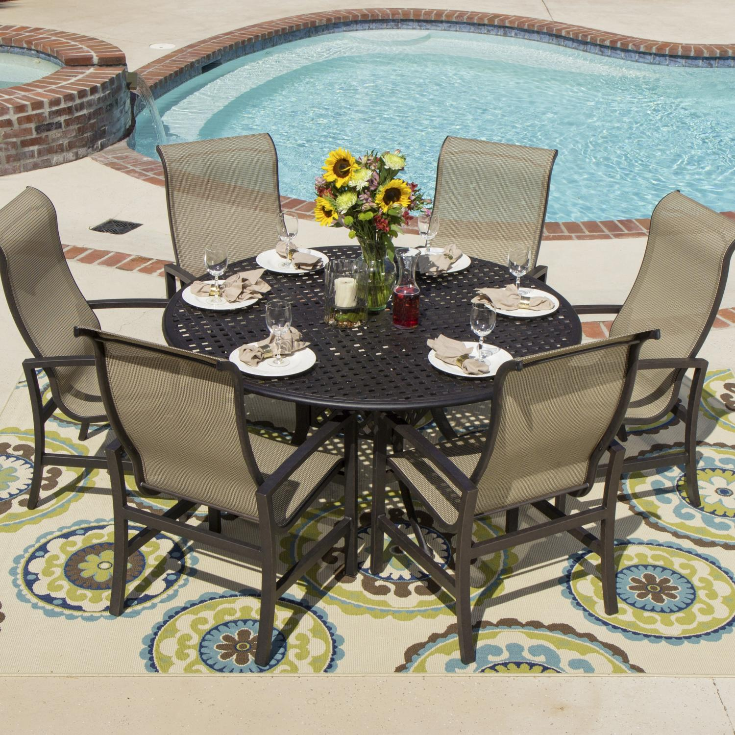 Dining Set With Cast Aluminum Table Acadia 6 Person Sling Patio Dining