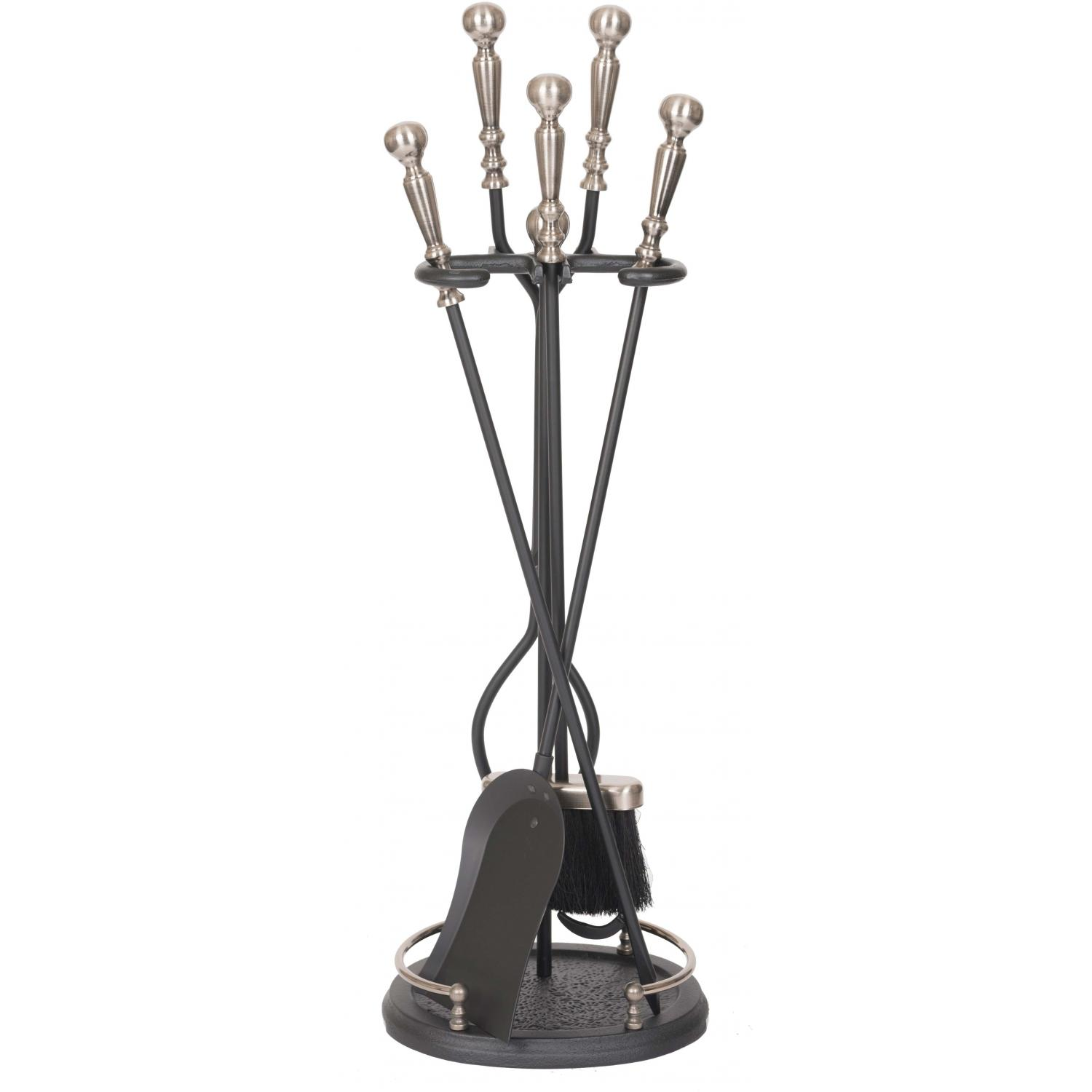 Picture of Alpine Flame 5-Piece Pewter/Black Fireplace Tool Set