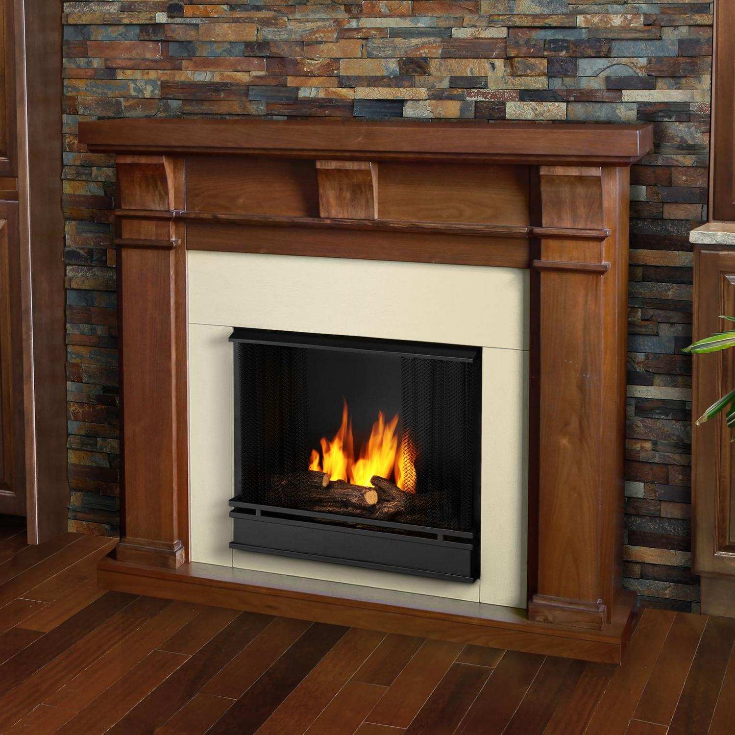 Real Flame Porter 49-Inch Gel Fireplace - Walnut