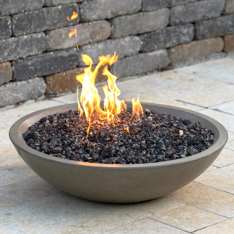 "American Fyre Designs Marseille 32"" Propane Gas Fire Bowl - Smoke - 753-sm-11-v6pc"